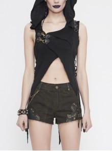 Breast-Wrapped Side Lace-Up Asymmetrical Hem Black Punk Woolen Cape