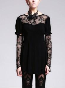 Black Lace Short Bubble Sleeve Rose Bead Necklace V-Shaped Back Lace-Up Gothic T-Shirt