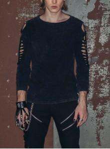 Broken Holes Strip Long Sleeve Skull Nails Black Punk Worn Knit Cotton T-Shirt