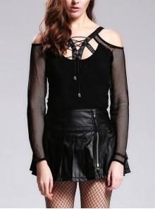 Off-Shoulder Leather Strap Chest Lace-Up Mesh Long Sleeve Black Punk T-Shirt
