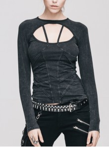 Backless Lace-Up Small Long-Sleeve Shawl Camisole Fake Two Pieces Black Punk T-Shirt