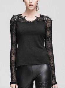 Shoulder Spider Web modeling back flocking mesh lace-up Long Sleeve black punk T-Shirt