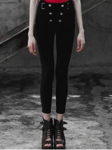 Steam Punk Female Buckle Black Elastic Skinny Pants