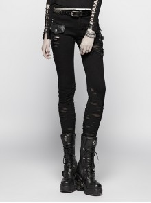 Steam Punk Casual Female Black Irregular Ripped Skinny Jeans