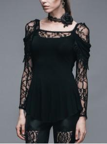 Rose Lace Back Cowls Collar Long Sleeve Side Tassels Round Hem Black Gothic T-Shirt