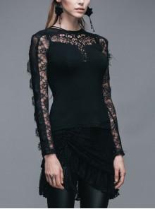 Positioning Pattern Lace Eyelash Lace Long Sleeve Chest Lace-Up Black Gothic T-Shirt