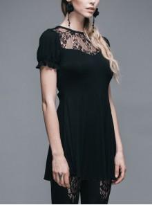 Black Gothic Patterned Lace V-Shaped Back Lace-Up Over Hip Short-Sleeve T-Shirt