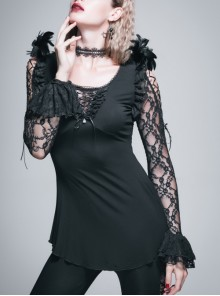 Rose Pattern Lace Small Flared Sleeves Shoulder Feather Back V-Shaped Lace-Up Black Gothic T-Shirt
