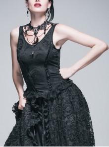 Jacquard Knit V-Neck Lace Flounces Hem Black Tight Gothic Vest
