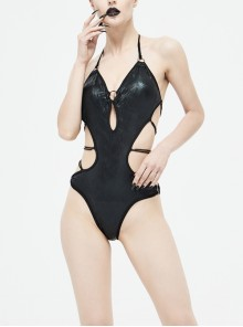 Wave Pattern Back Cross-Strap Elastic Cord Black Punk One-Piece Swimsuit