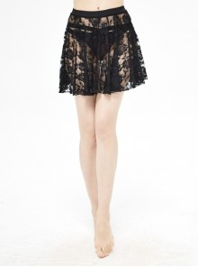 Rose Lace Mesh A-Line Black Gothic Swimsuit Skirt
