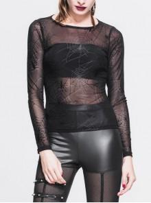 Spider Web Jacquard Mesh Round Collar Long Sleeve Black Punk T-Shirt