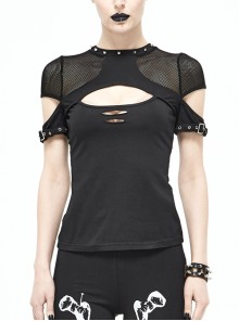 Mesh Shoulder Hand Stitched Nail Collar Loop Cuff Chest Hollow Black Punk T-Shirts