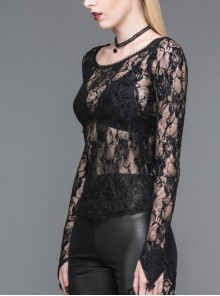 Finger Covered Rose Net Lace Big Round Collar Long Sleeve Black Gothic T-Shirt