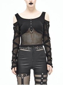 Off-Shoulder Woven Belts Rivet Mesh Sleeve Chest Loop D-Buckle Black Punk T-Shirt