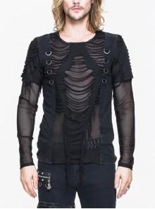 Tattered Knitted Diamond Mesh Chest Ribbon D-Buckle Black Punk T-Shirt