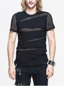 Partition Diamond Rough Selvedge Knit Splice Mesh Black Short Sleeve Punk T-Shirt