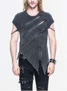 Partition Zippered Asymmetrically Hem Gray Punk T-Shirt