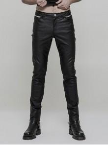 Steam Punk Male Casual Black PU Leather Metal Zipper Pants