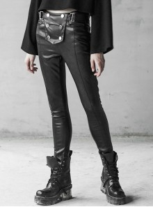 Steam Punk Female Black Military Buckle PU Leather Skinny Pants With Belt