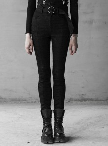 Steam Punk Female Black High Waist Pants With Braces