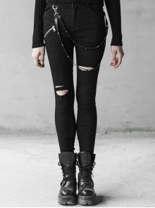 Steam Punk Female Black Elastic Removable Strap Skinny Ripped Jeans