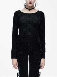 Cross Pattern Velvet Waist Length Horn Sleeves Short Black Gothic T-Shirt