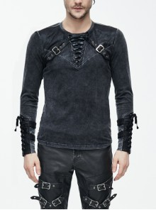 Black Faded Splice Heat Seal Backing Chest Lace-Up Leather Loop Cuff Punk T-Shirt