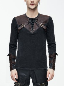 Black Faded Splice Brown Heat Seal Backing Chest Lace-Up Leather Loop Cuff Punk T-Shirt