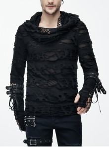 Ripped Hooded Finger Covered Leather Loop Lace-Up Black Punk T-Shirt