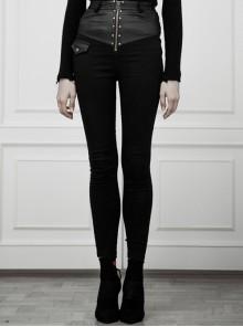Steam Punk Female Casual High Waist Black Stitching Skinny Pants