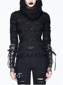 Ripped Hooded Finger Covered Splice Mesh Leather Loop Lace-Up Cuff Black Punk T-Shirt
