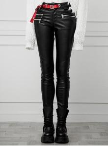 Steam Punk Female Contrast Color Belt Elastic PU Leather Skinny Pants