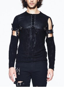 Irregular Jacquard Knitted Chest Lace-Up Leather Loop Sleeve Removable Black Punk T-Shirt