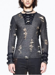 Black Apricot Broken Holes Chest Lace-Up Loop Cuff Long Sleeves Punk T-Shirt