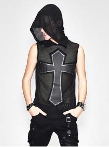 Mesh Splice Hand Rubbed Leather Rivet Cross Black Punk Sleeveless Hooded T-shirt