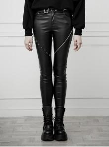 Steam Punk Casual Female Black Asymmetrical Skinny PU Leather Pants