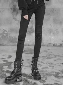 Steam Punk Female Black Removable Metal Strap Skinny Jeans