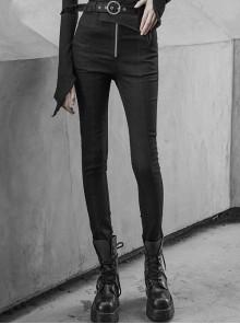 Steam Punk Casual Female Elastic High Waist Skinny Metal Buckle Jeans
