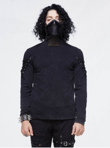Splice Mesh Leather Embroidery Super-High Collar Masked Lace-Up Long Sleeve Black Punk T-Shirt