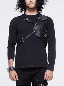 Asymmetric False Two Pieces Of Leather Rivet Armor Leather Hasp Black Punk T-Shirt
