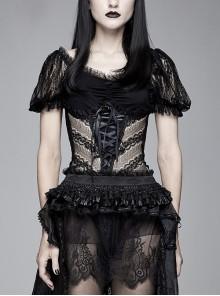 Vertical Flower Lace Bubble Sleeve Chest Cross Lace-Up Black Gothic T-Shirt