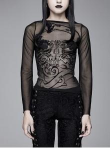 Black Snake Flocking Printed Mesh Horn Sleeve Gothic T-Shirt
