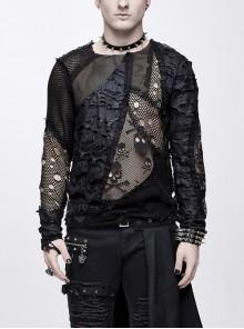 A Variety Of Mesh Materials Stitching Unedged Broken Holes Round Collar Black Punk T-Shirt