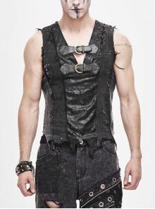 Worn Dirty Chest Leather Hasp Shoulder Lace-Up Asymmetrical Hem Black Punk Vest