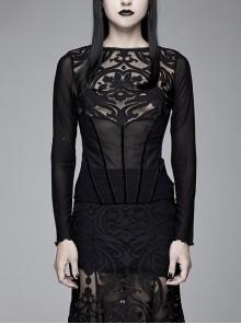 Court Burnt Out Flower False Girdle Mesh Long Sleeve Black Gothic T-Shirt