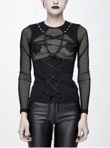 Chest Perspective Pentagram Lace-Up Mesh Black Punk Tight T-Shirt