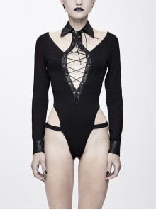 Chest Hollow Leather Strips Lace-Up Long Sleeve Tight Black Punk Connecting Crotch T-Shirt