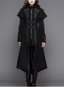 Women Gothic Pattern Leather Design Fake Two Pieces Black Double-Sided Woollen Coats