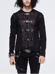 Woolen Spliced Chest Leather Hasp Lace-Up Black Punk Knit T-Shirt